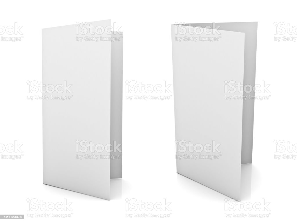 Blank brochure or flyer isolated on white background with reflection stock photo