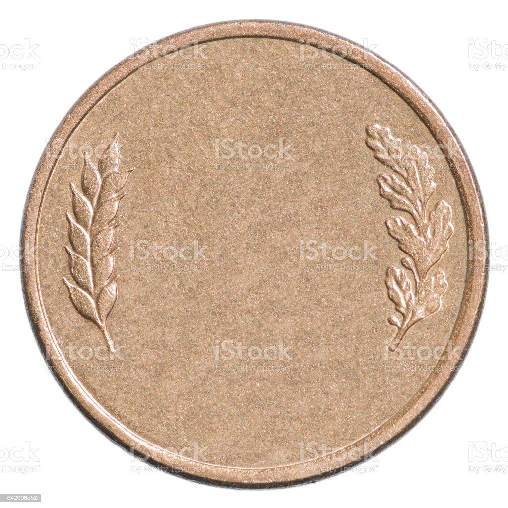 Blank bronze coin stock photo