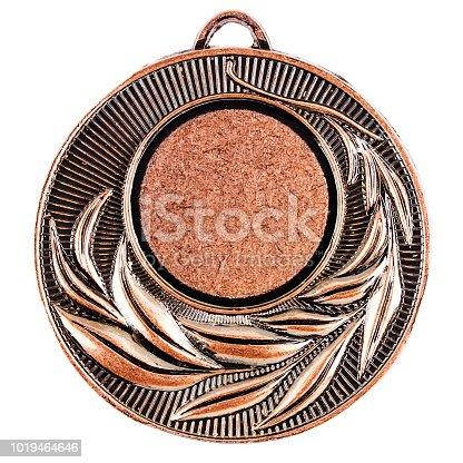 istock Blank bronze medal template 1019464646