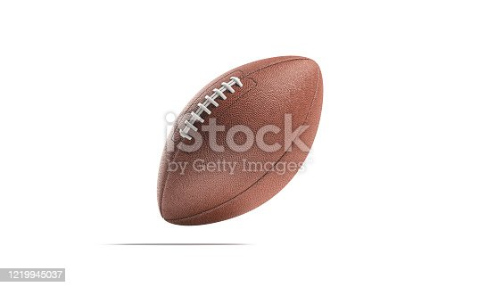 Blank brown american football ball mock up, no gravity, 3d rendering. Empty leather usa fotball for national team competition mockup, isolated. Clear oval with lace for champion games mokcup template.