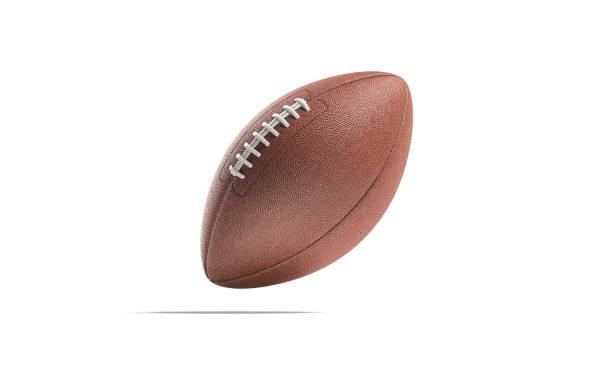 Blank brown american football ball mock up, no gravity stock photo