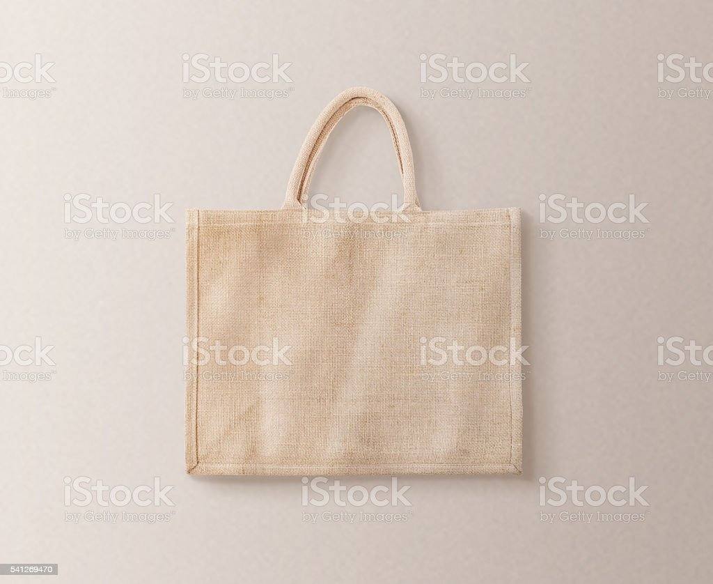 Blank brown cotton eco bag design mockup isolated, clipping path stock photo