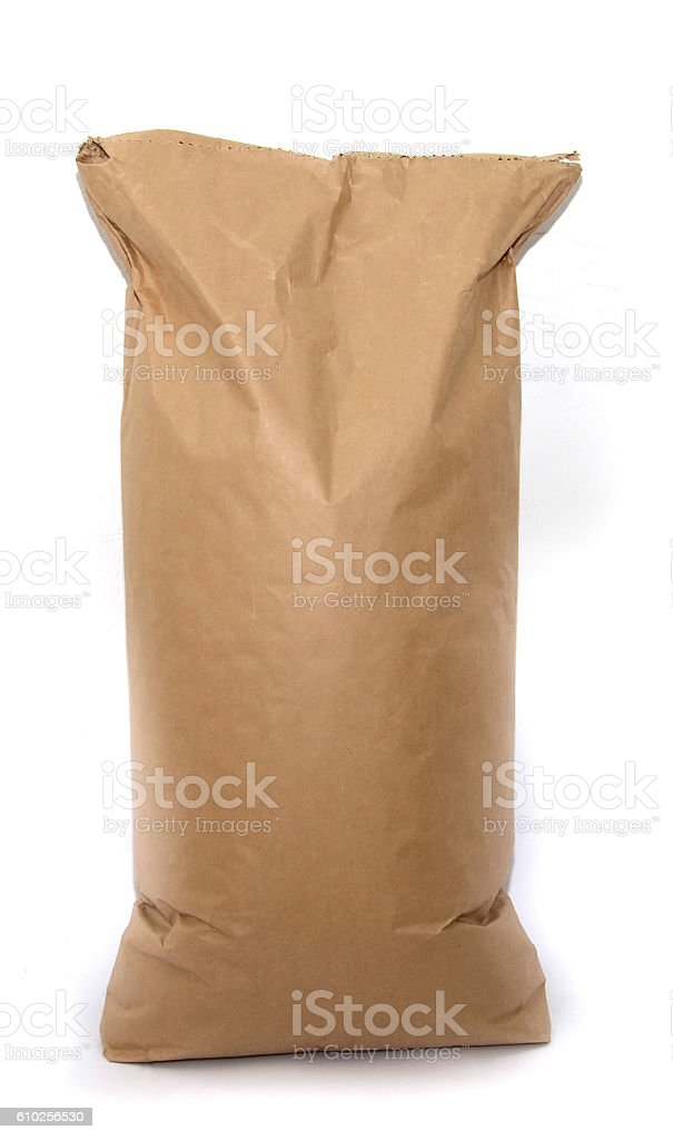 Blank brown craft paper bag isolated on white background stock photo
