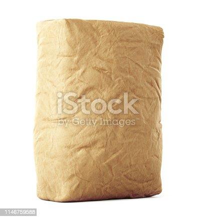 912671588istockphoto Blank brown craft paper bag isolated on white 1146759588