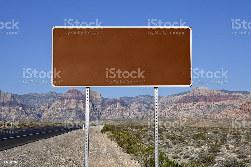 Blank Brown Highway Sign in the Mojave Desert stock photo