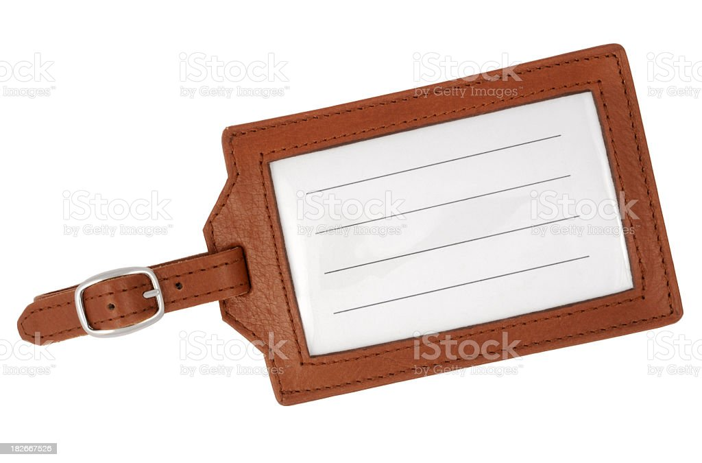 Blank, brown, leather luggage tag with white background stock photo