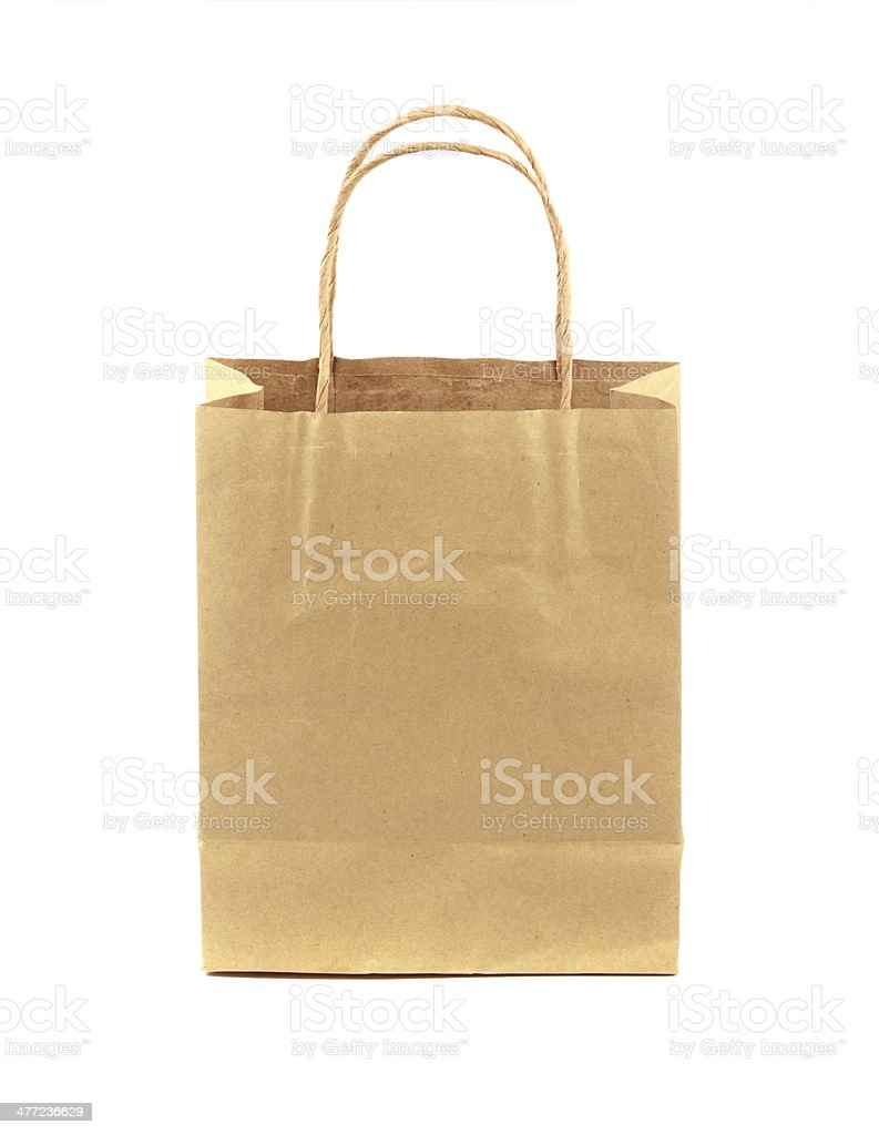 blank brown paper bag isolated on white background stock photo