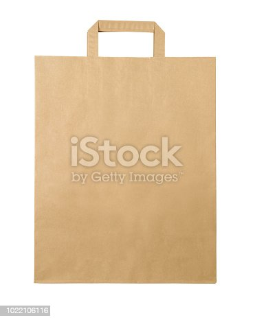 Blank brown paper bag isolated on white background with clipping path