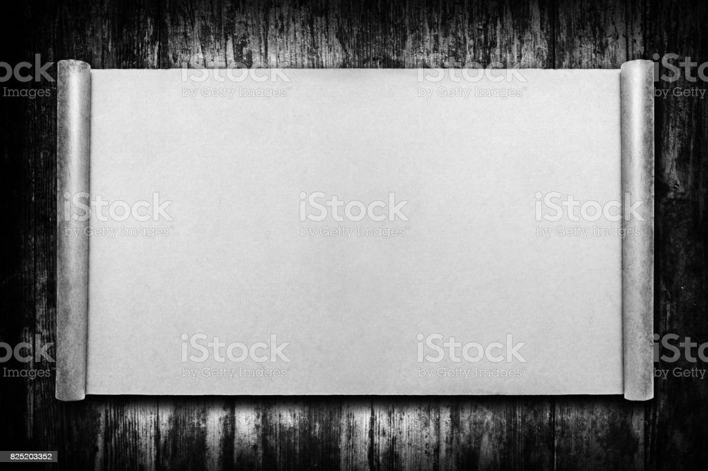Blank Brown Paper Page Curl background on wood textured stock photo