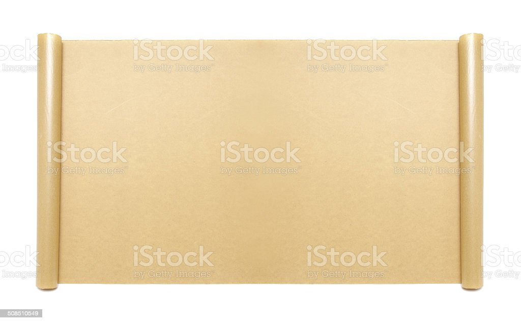 Blank Brown Paper Page Curl background textured isolated stock photo