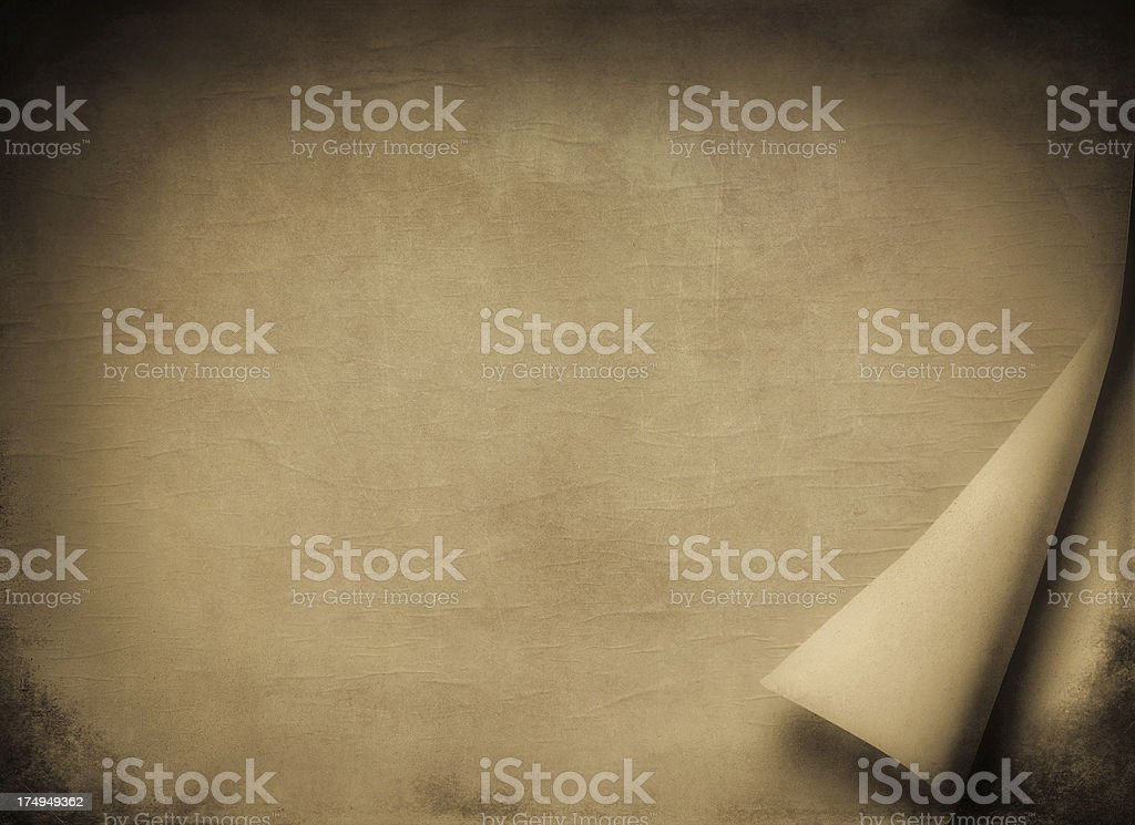 Blank Brown paper with curled page royalty-free stock photo