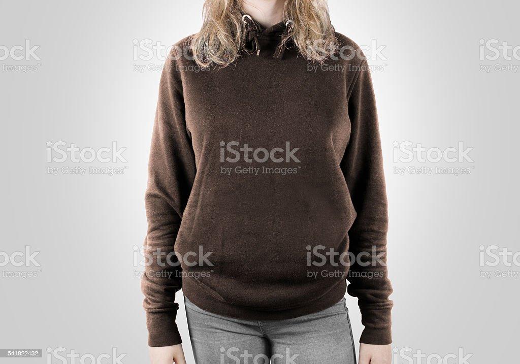 Blank brown sweatshirt mock up isolated. stock photo
