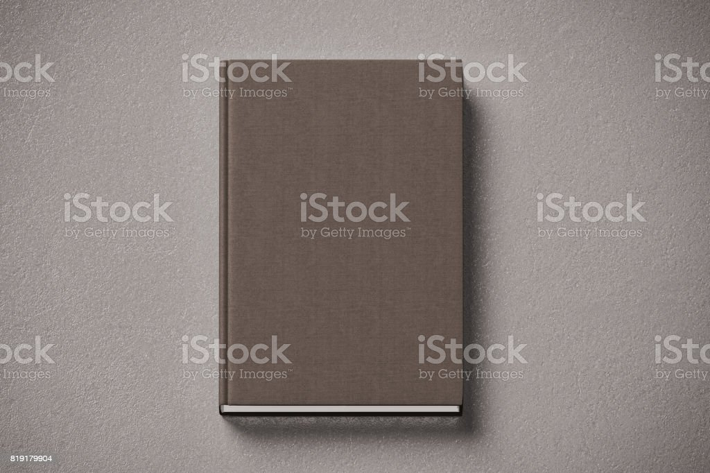 Blank brown tissular hard cover book mock up, front side stock photo