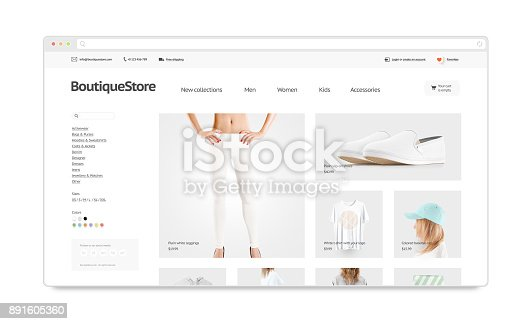 istock Blank browser window mock up with fashion web store template 891605360