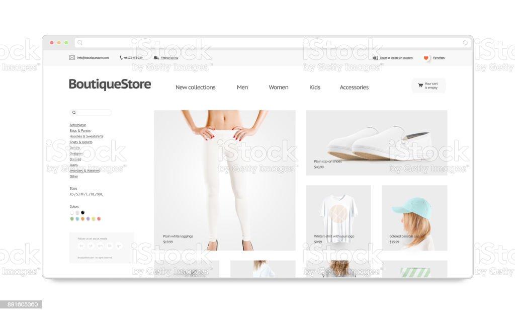 Leeres Browserfenster mock-up mit Mode-Web-Shop-template – Foto