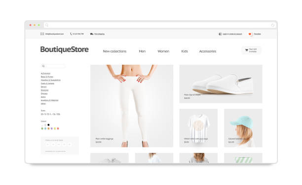 leeres browserfenster mock-up mit mode-web-shop-template - menüplanung vorlagen stock-fotos und bilder