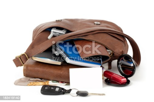 istock Blank Business Card and  Purse Spilling Contents 183419140