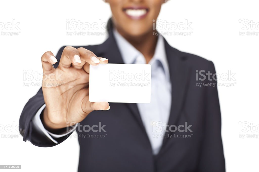 A blank business card being held up to view stock photo