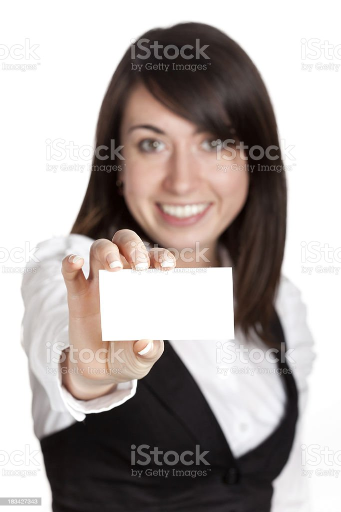 Blank business card in a hand royalty-free stock photo