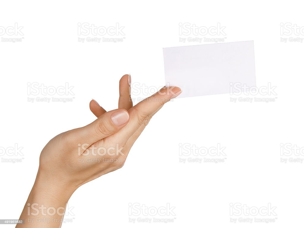 Blank business card in woman's hand stock photo