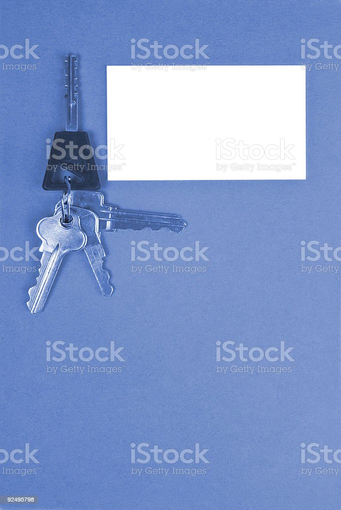 Blank Business Card & Keys, Blue Tone royalty-free stock photo