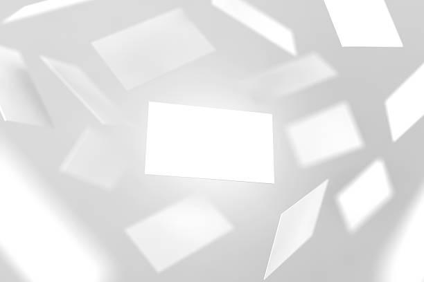Blank business cards falling, 3d rendering - foto de stock