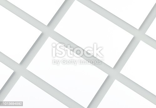 istock Blank Business Cards on gray background. Mock-up for branding identity. 3d rendering. 1013694592