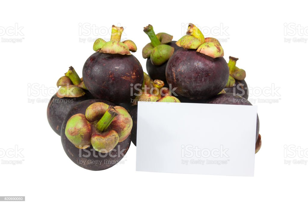 Blank business cards on group of mangosteen fruit. stock photo