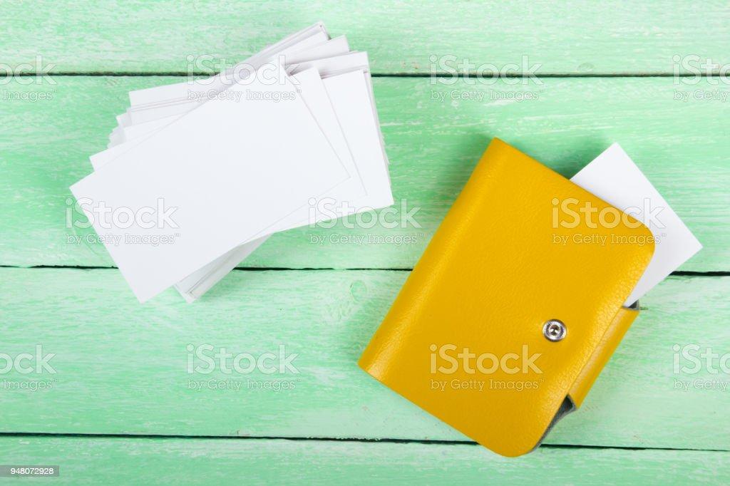 Leere Visitenkarten Auf Dem Holztisch Vorlage Für Id Ansicht