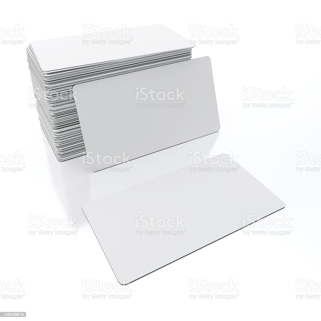 Blank Business Cards on White Background stock photo