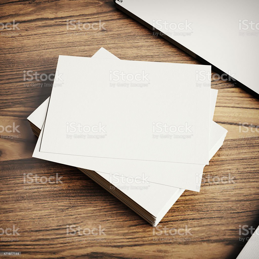 Blank Business Cards Template On Wood Background Stock Photo   Download  Image Now