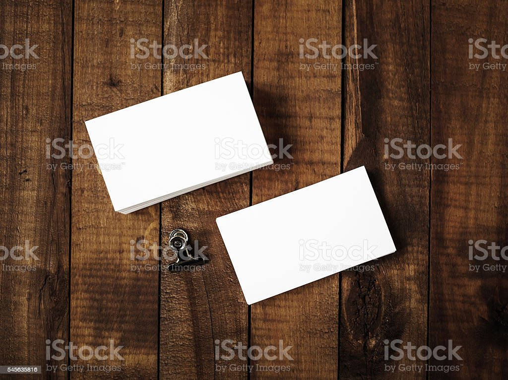 Blank business cards - top view stock photo