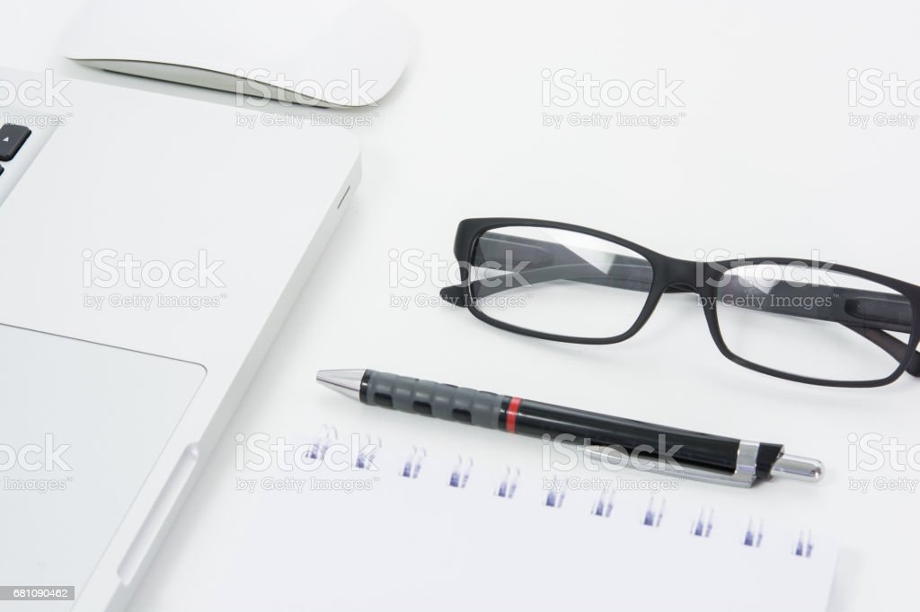 Blank business laptop, mouse, pen royalty-free stock photo