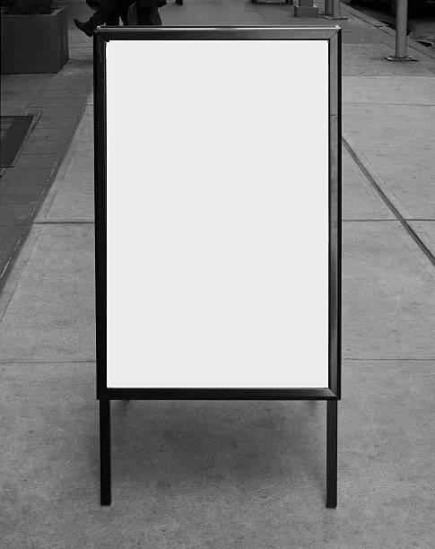 Blank business sign on sidewalk stok fotoğrafı
