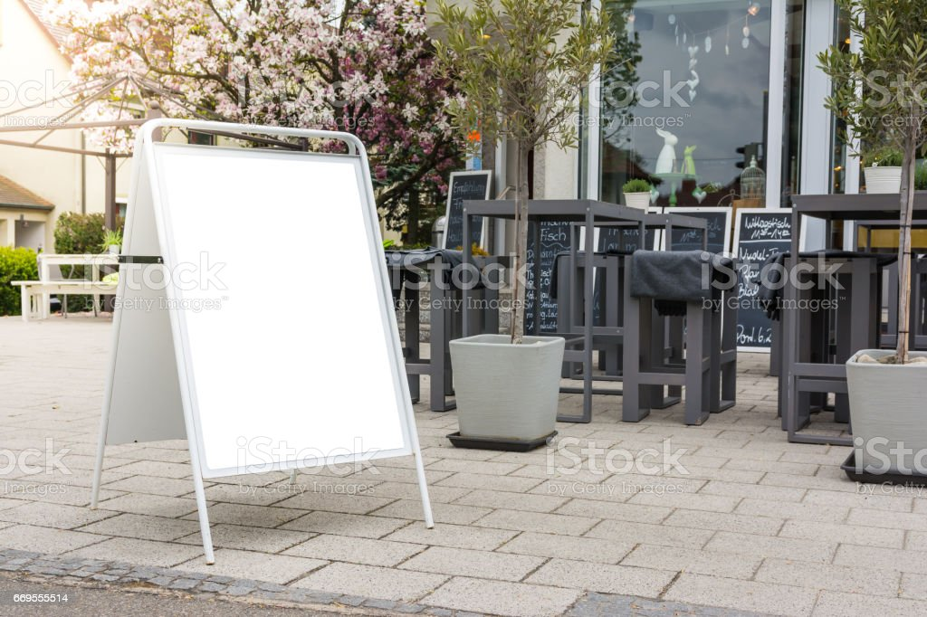 Blank Cafe Menu Daily Advertisement Outdoors Public White Isolated Clipping Path stock photo
