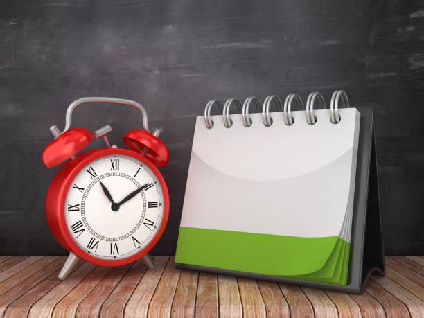 calendrier blanc avec horloge d'alarme sur le fond de chalkboard - rendu 3d - calendrier digital journée photos et images de collection