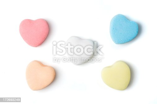 Blank candy hearts on isolated on white with clipping path.  Add your own text.
