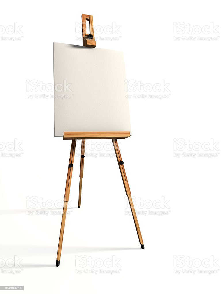 Blank canvas and easel on white background stock photo