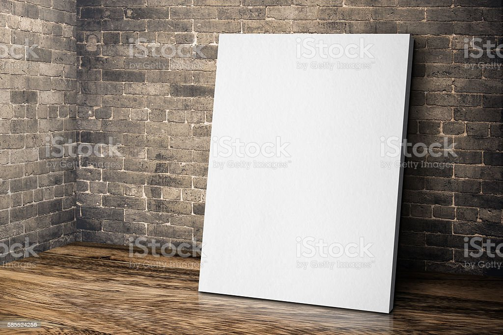 Blank Canvas Frame Leaning At Brick Wall And Wood Floor Stock Photo ...