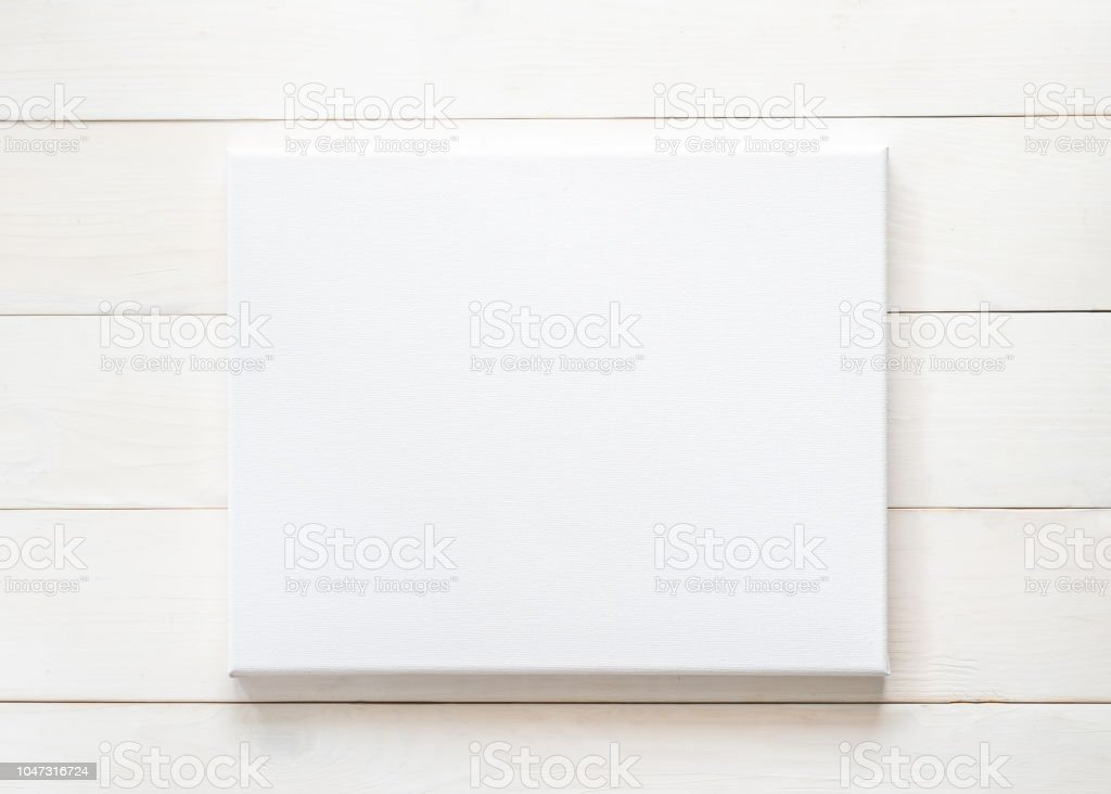 Blank Canvas Frame Mockup Rectangular Size On White Wood Wall For