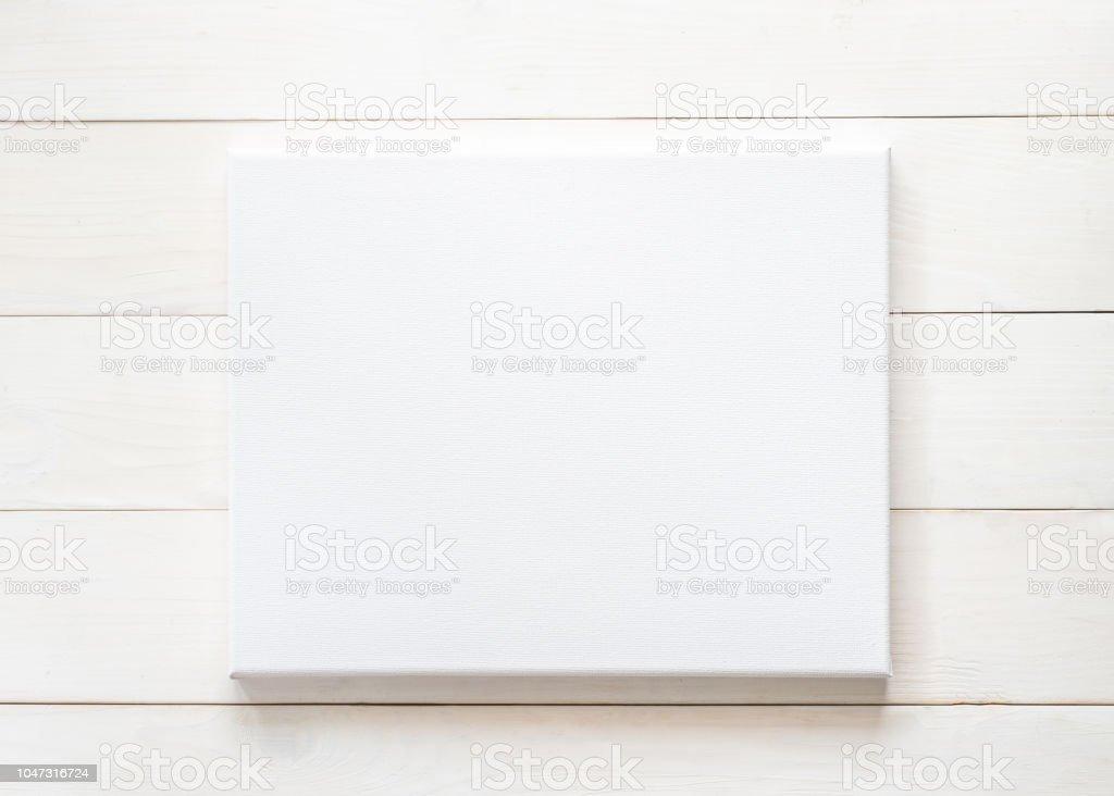 Leere Leinwand Mockup Rechteckige Rahmengröße Auf Weißen Holz Wand