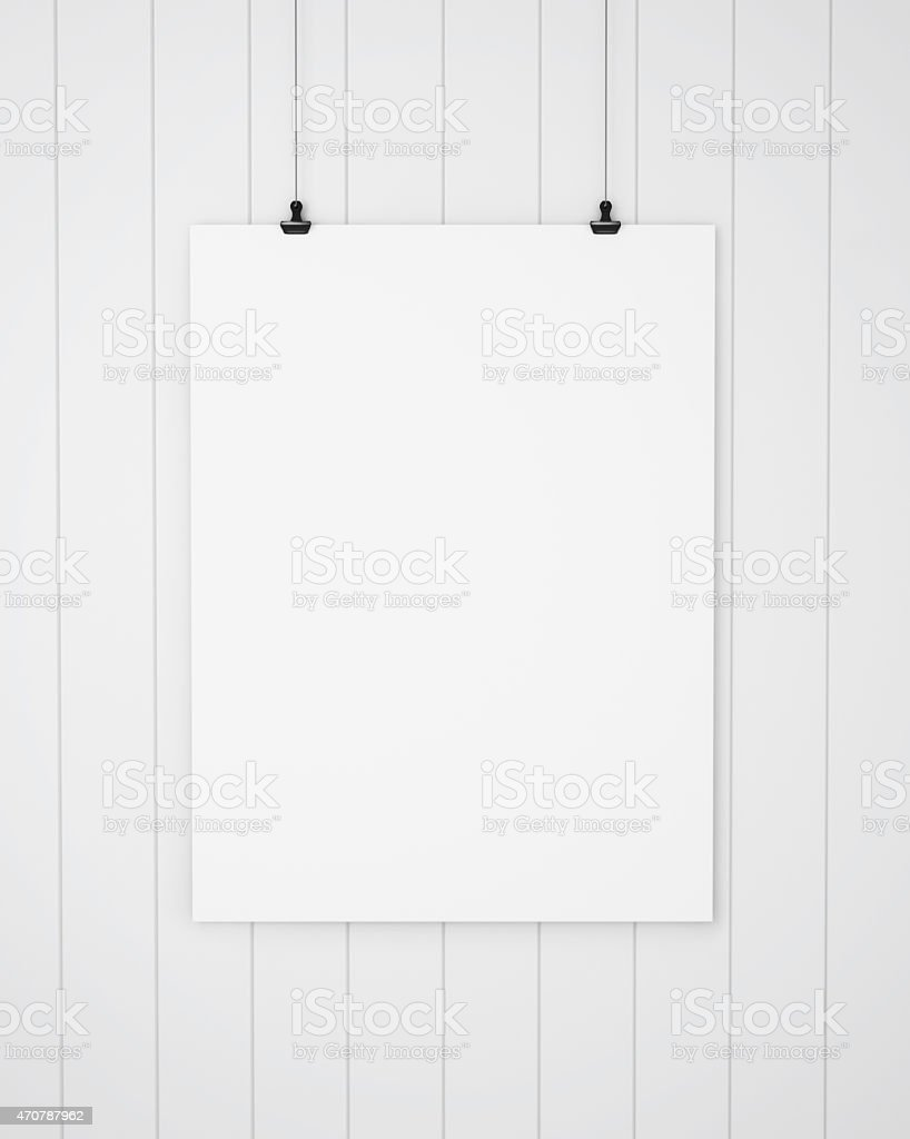 Blank canvas hanging on the white boards background. 3D rendering. stock photo