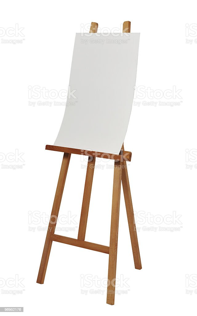 blank canvas on easel royalty-free stock photo