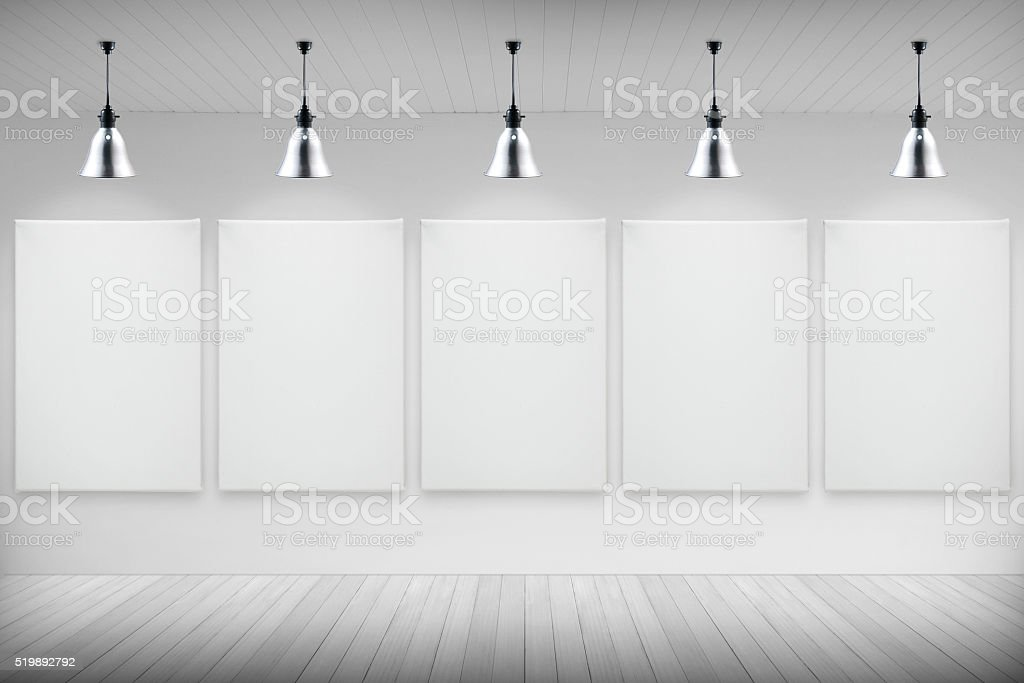 blank canvas on wall stock photo
