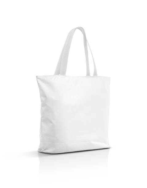 blank canvas tote bag isolated on white background - tote bag imagens e fotografias de stock