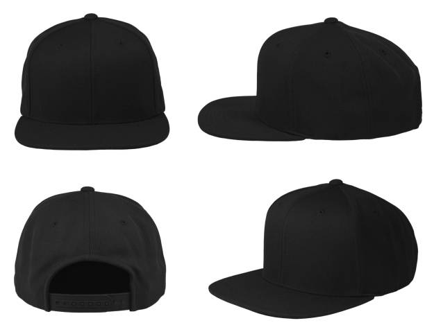 Blank cap 4 view color black stock photo