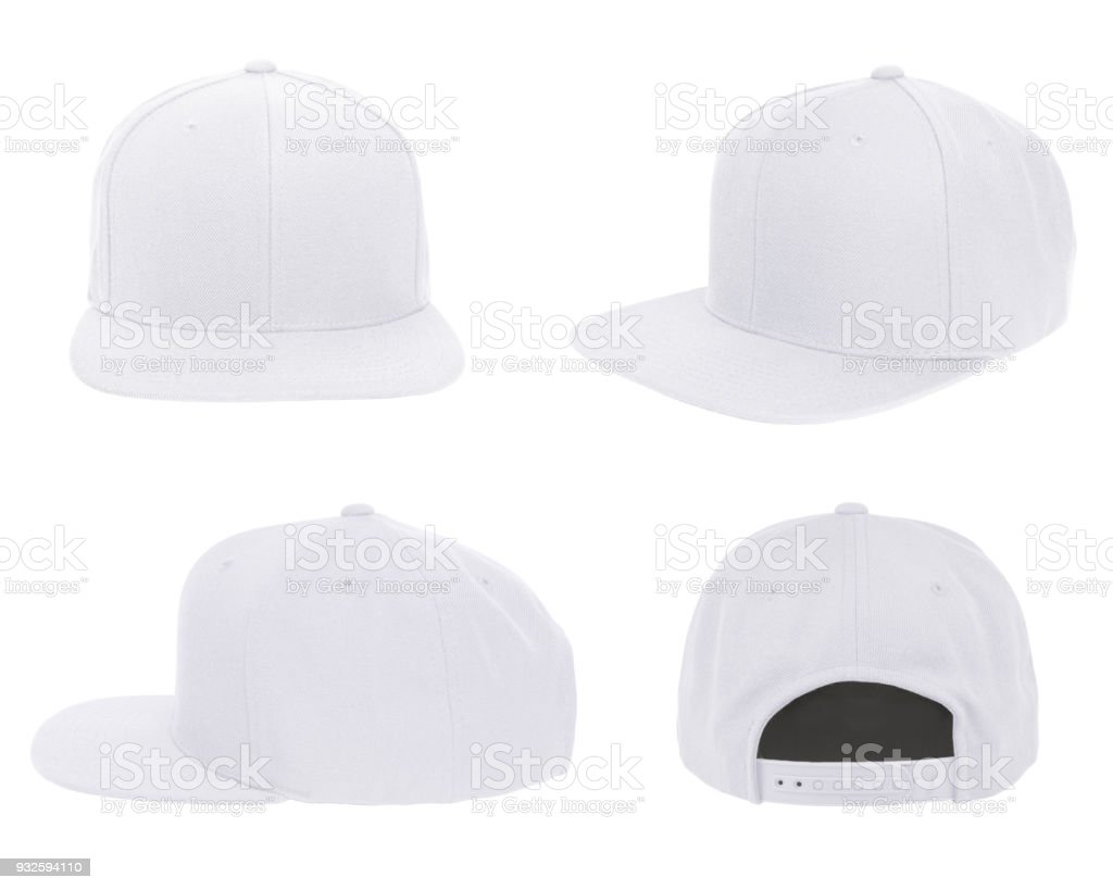 Blank cap 4 view color white stock photo