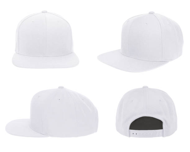 Blank cap 4 view color white Blank cap 4 view color white on white background baseball cap stock pictures, royalty-free photos & images