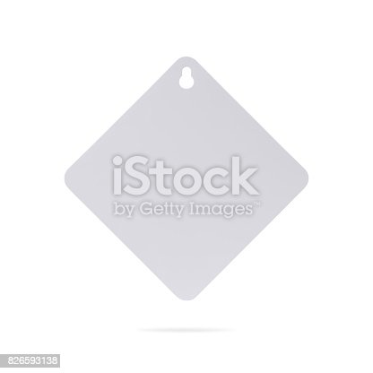 istock Blank car sign isolated on white background. Square label or empty traffic board for your design. ( Clipping path or cut out object for montage ) Can put text, image, and logo. 826593138