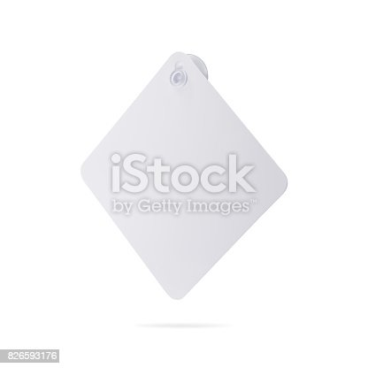 istock Blank car sign isolated on white background. Square label or empty traffic board for your design. ( Clipping path or cut out object for montage ) Can put text, image, and logo. 826593176